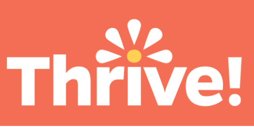 orange background with thrive in white text and sunburst over i