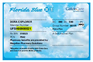 "Image of a Florida Blue/GatorCare Member ID Card. Under the name, the member number ""UFSH0090021"" is listed and the portion ""H0090021"" is highlighted."