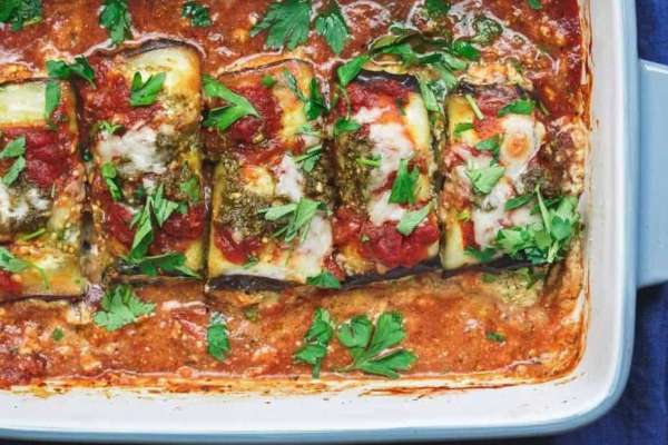 Gluten-free eggplant rollatini with ricotta cheese and tomato sauce