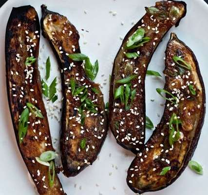 ginger miso glazed eggplant with sesame seeds