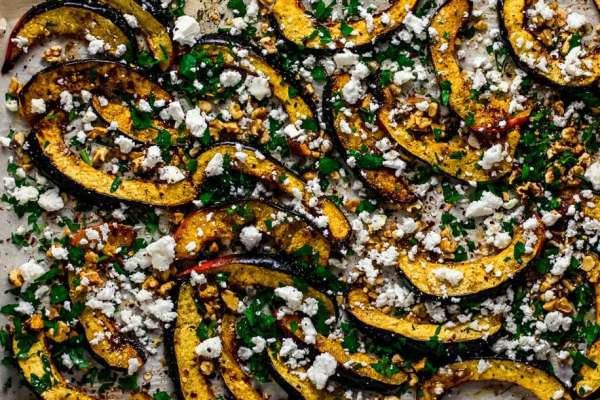 roasted squash with creamy crunchy toppings