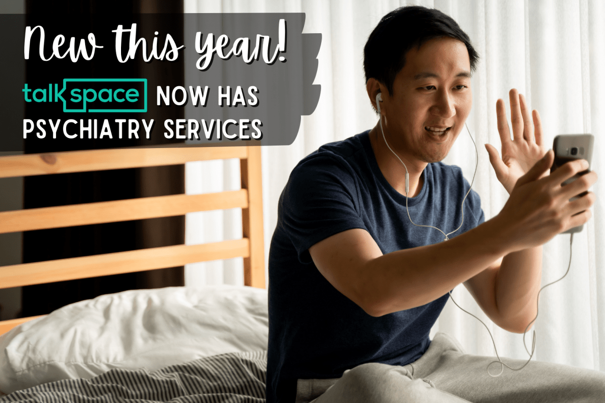 """Banner photo - """"new this year! Talkspace now has psychiatry services"""""""