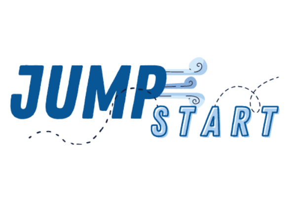 """blue and white logo with text that says """"jumpstart"""""""