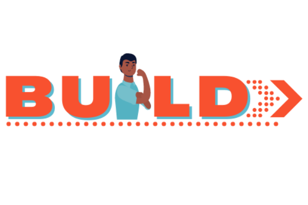 """Orange logo with text that sayd """"build"""""""