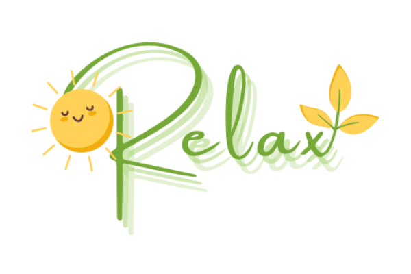 """green and yellow logo with text that says """"relax"""""""