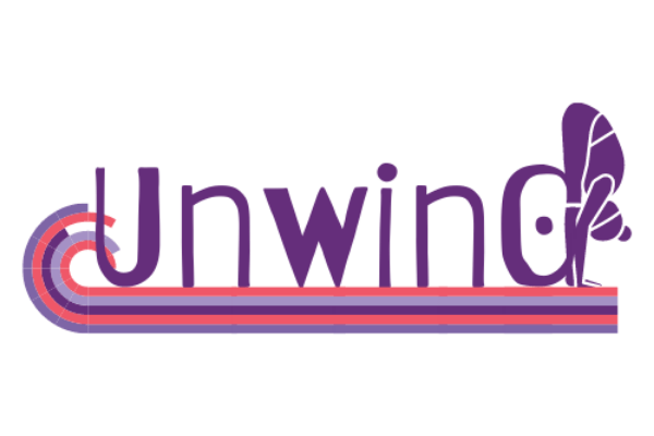 """purple and pink logo with text that says """"unwind"""""""