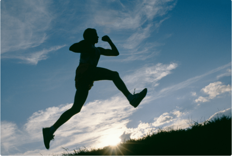 silhouette of person jumping