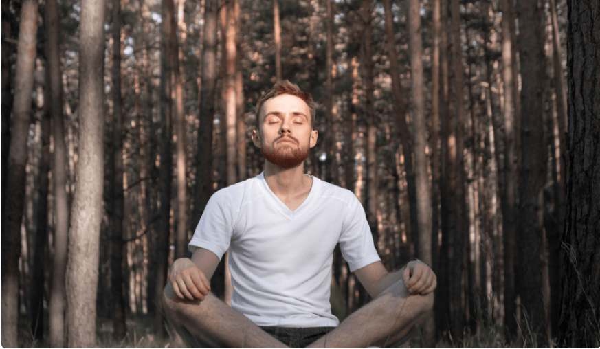 person meditating in forest
