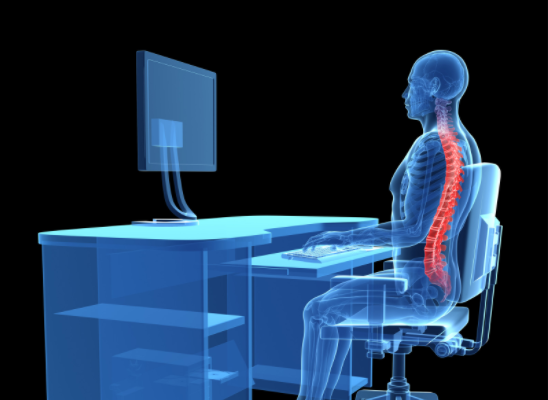 graphic of person sitting at desk spine highlighted in red