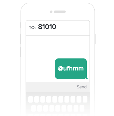 image of a phone screen with a text saying @ufhmm to the number 81010