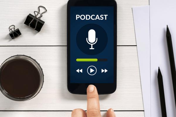 phone showcasing podcast