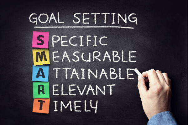 photo of a chalkboard and someone writing on it. chalkboard says goal setting, specific, measurable, attainable, relevant, timely. the S, M, A, R, and T are on different colored sticky notes.