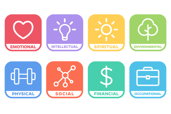graphics of the 8 windows to wellness. red emotional window with a heart. purple intellectual window with a lightbulb. yellow spiritual window with a sun. green environmental window with a tree. blue physical window with a weight. orange social window. light green financial window with a money sign. light blue occupational window with a briefcase.