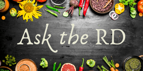 "text ""ask the RD"" surrounded by produce and flowers"