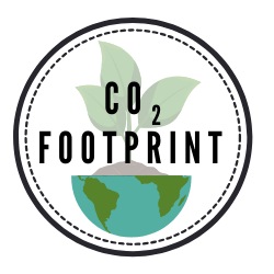 circular logo of plant growing out of half otf the globe with text CO2 footprint