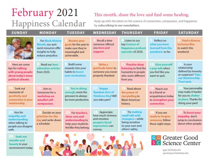 February 2021 Happiness Calendar