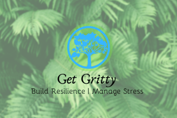 get gritty logo of light blue tree on palm frond background