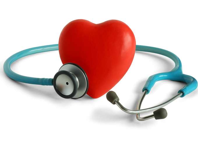 red heart surrounded by light blue stethoscope