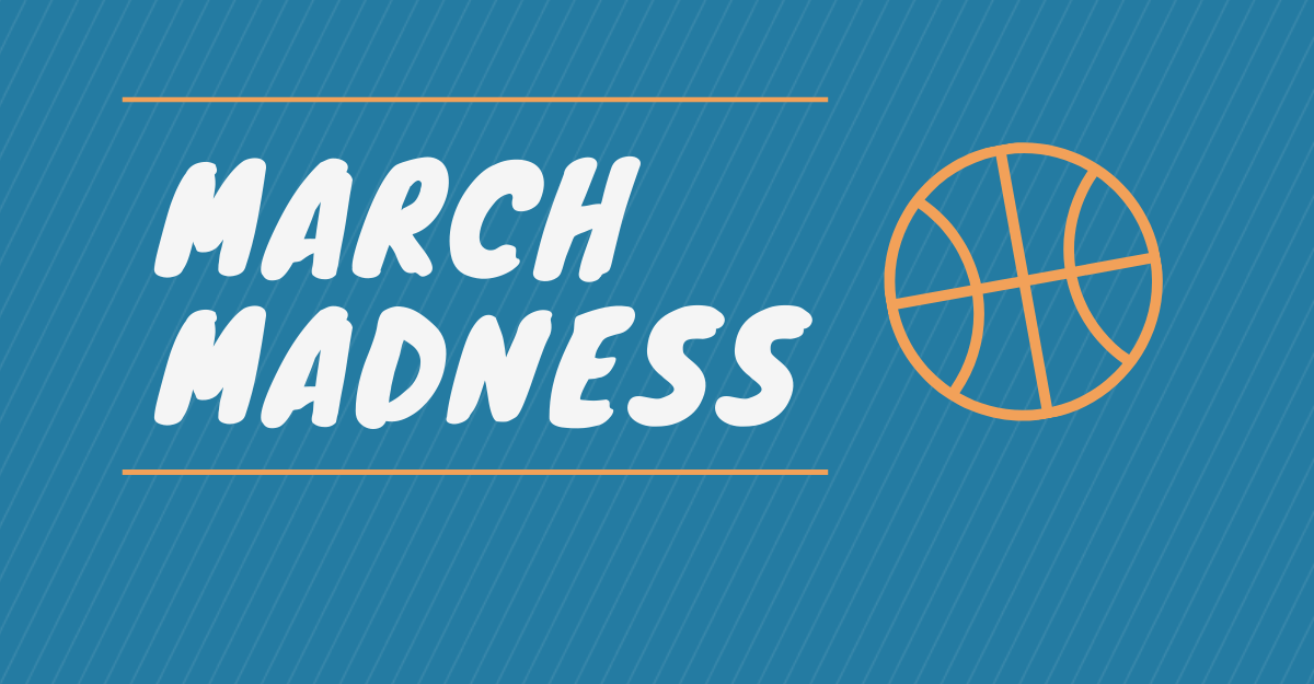 white text march madness on blue background with orange outline of basketball