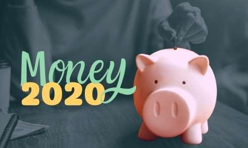piggie bank with text money 2020