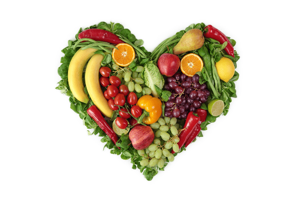 fruits and vegetables in shape of heart