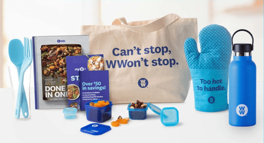 weight watchers paraphernalia including canvas tote bag, water bottle, and oven mitt