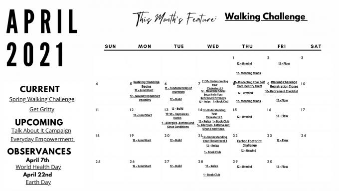 April Black and White Calendar