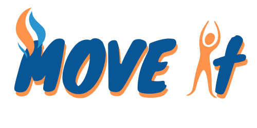 orange and blue logo of text move it with flames