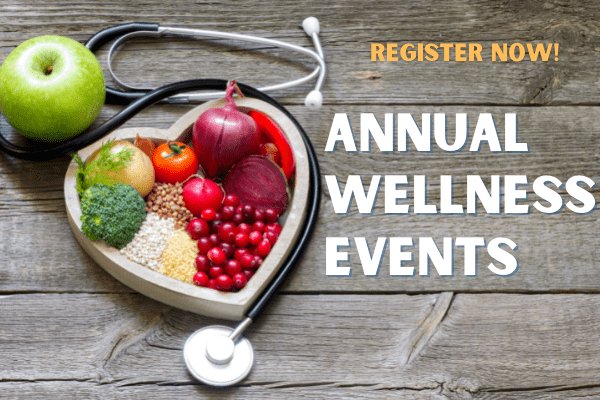 heart-shaped plate filled with fruits and vegetables with text annual wellness events