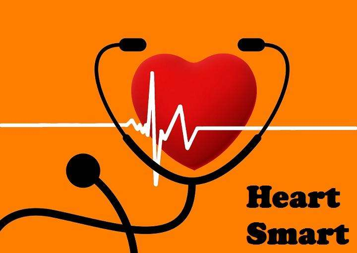 heart surrounded by stethoscope with text heart smart