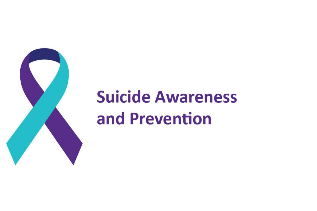 purple and teal ribbon with text suicide awareness and prevention