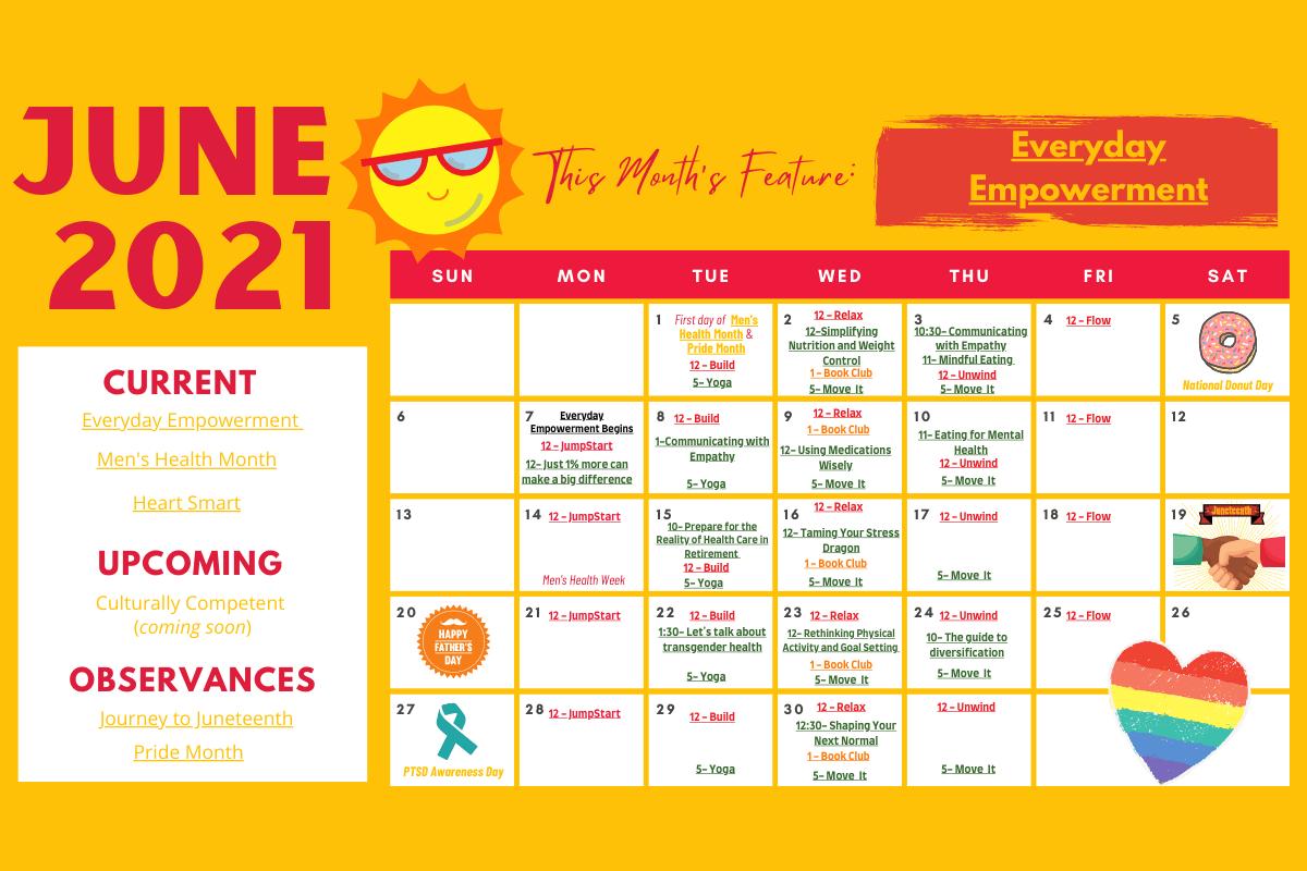 June 2021 wellness calendar