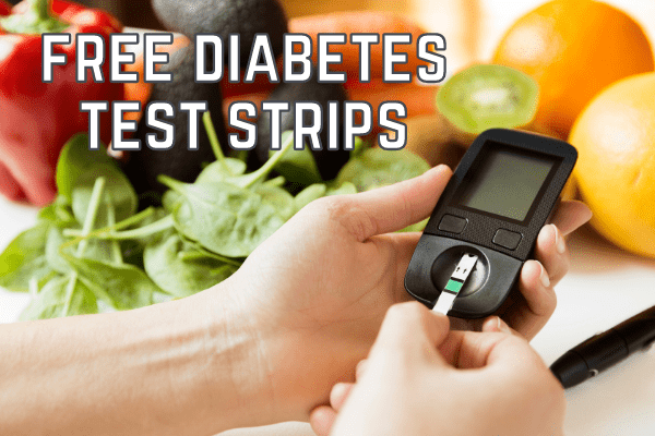 person holding glucose meter with text free diabetes test strips