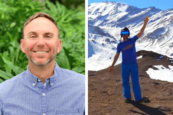 picture of Nick Miller, headshot on the left, skiing picture on the right